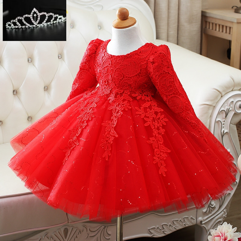 High Quality Sequin Redwhite Baby Girls Long Sleeve 1 -5076