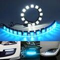 2 pçs/lote flexível impermeável car daytime running luz 6-20 leds carro cob drl luz de nevoeiro para honda/toyota/hyundai/vw/kia/mazda/bmw