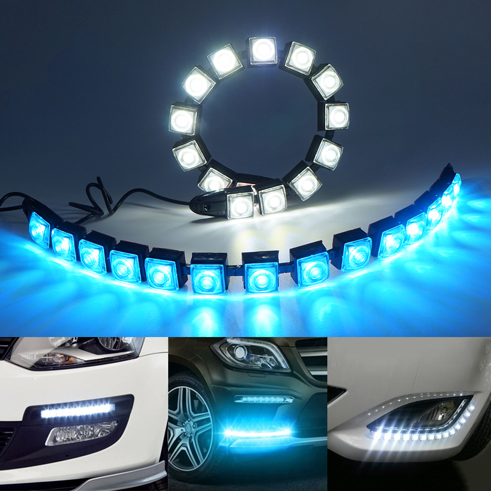 2pcs/lot Flexible Waterproof Car Daytime Running Light 6-20 LEDs Car COB DRL Fog Light For Honda/Toyota/Hyundai/VW/Kia/Mazda/Bmw leadtops 2pcs 23mm eagle eye led car drl fog daytime running light automobiles accessoires 12v for mazda audi toyota honda vw dj