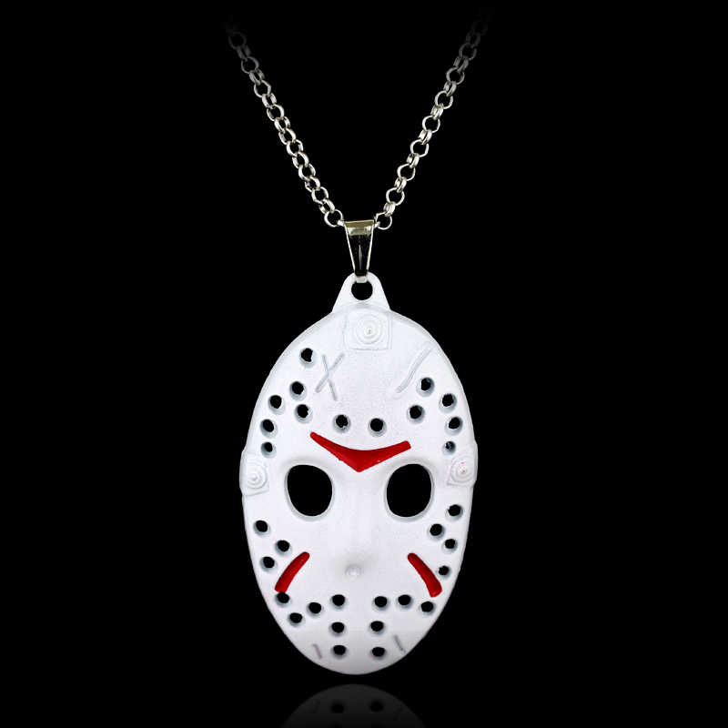 Filme de terror Friday The 13th Colar Assassino Jason Hockey Máscara Colar de Pingente de Moda Masculina Meninos Chain link Neck lace Collier