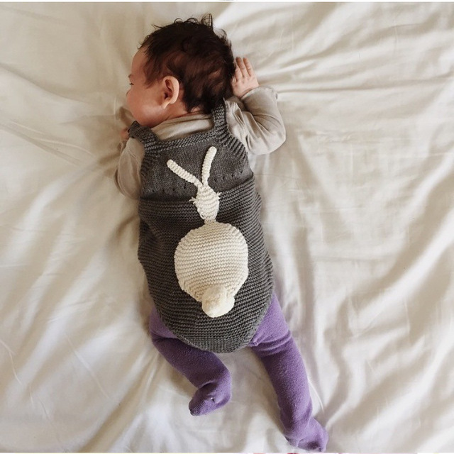 INS baby clothes ha clothing baby rabbit baby autumn knitting condole jumpsuits 0-2 years old