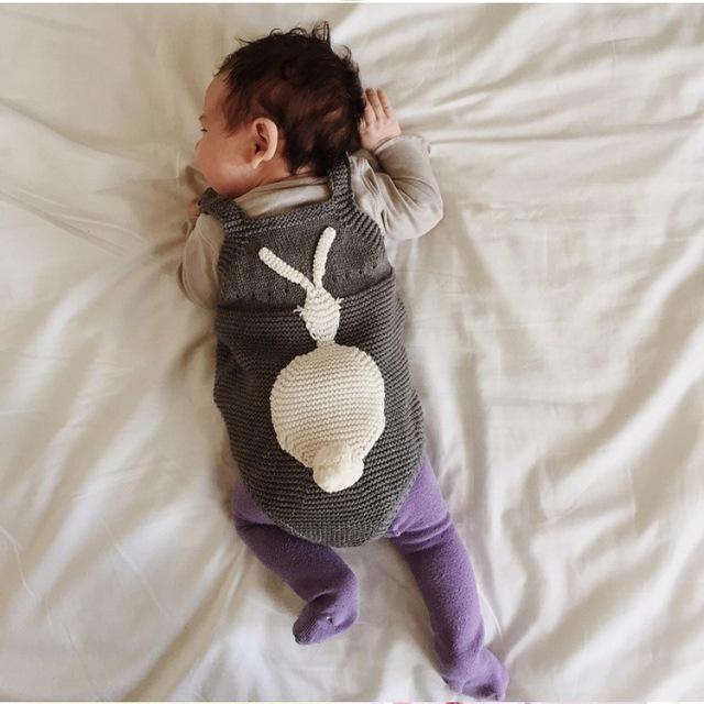 Ins ropa de bebé ha clothing bebé conejo bebé del otoño hacen punto condole jumpsuits 0-2 años de edad