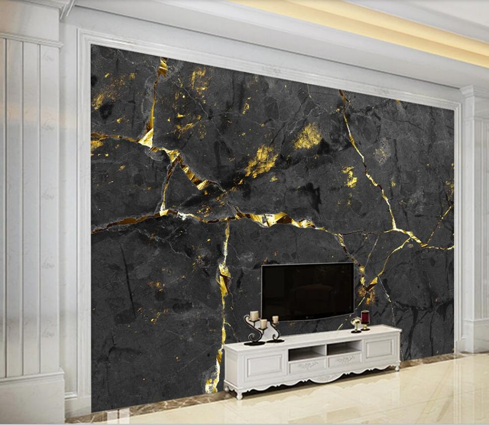 Customized Large-scale 3D Mural Wallpaper European Light Luxury Noble Black Gold Wire Marbling TV Background Wall