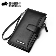BISON DENIM Brand Handbag Men Leather Genuine Business Large Capacity Clutch Bag Brand Men's Purse Cowhide Wallet Free Shipping