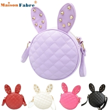 High quality Women Girl Rabbit Ear Round Leather Handbag Shoulder Messenger Bag