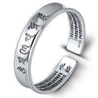 999 Sterling Silver Fine Jewelry Silver Bangles Open Type Six Words Memoirs Bracelets For Women And