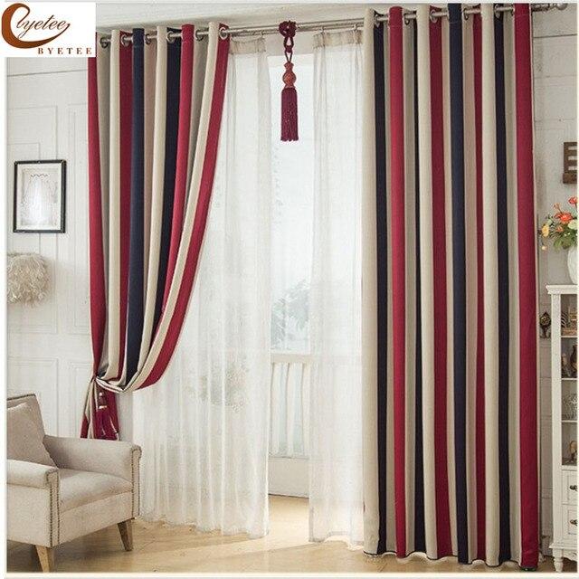 Byetee] Mittelmeer rot blau vertikale streifen Vorhang Für Kinder ...