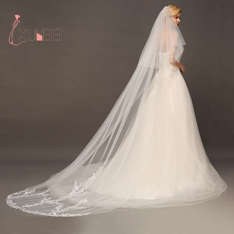 Voile Marriage Ivory White Cathedral Length 3M Two Layers Wedding Veils Appliqued Edge Bridal Veil With Comb Wedding Accessories