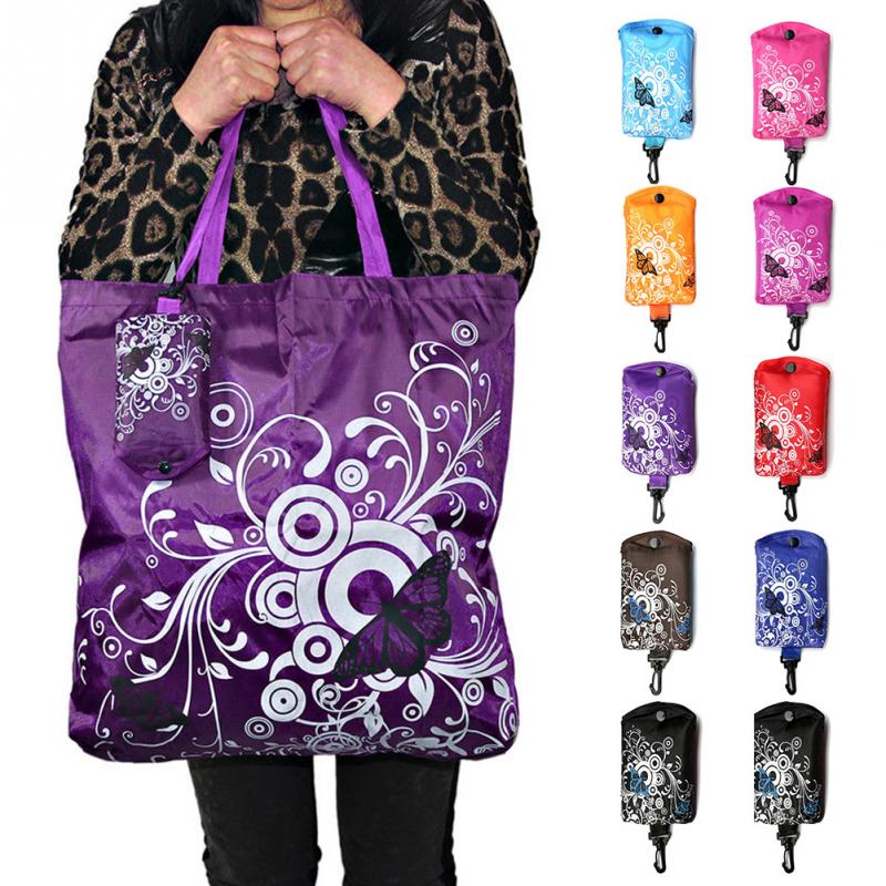 Foldable Shopping Bag Butterfly Flower Oxford Fabric Shoulder Bag Portable Eco-Friendly Grocery Bags Reusable Tote for Ladies