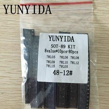 SOT-89 SMD transistor Assorted KIT Total 8kinds X10pcs=80pcs contains  78L05 78L06 78L08 78L09 78L10 78L12 78L15 79L05 20pcs 2sb772p sot 89 2sb772 b772p b772