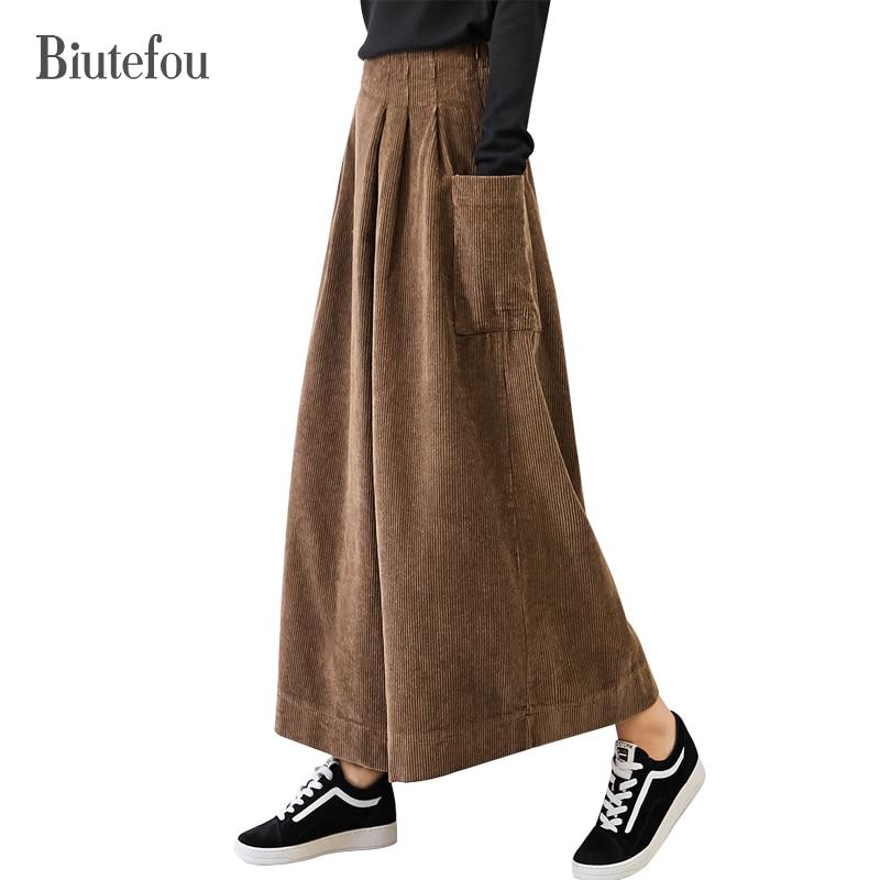 2018 Winter loose ankle-length   pants   women vintage solid color corduroy asymmetry high waist   wide     leg     pants