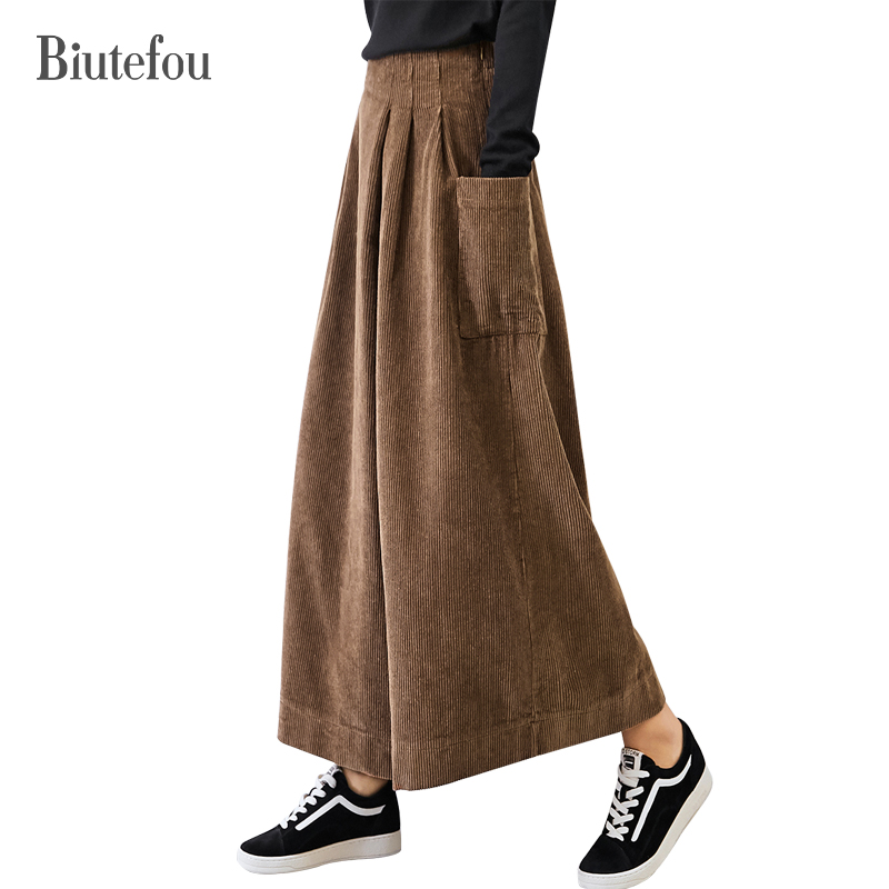 2019 Spring loose ankle-length   pants   women vintage solid color corduroy asymmetry high waist   wide     leg     pants