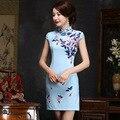 2017 summer new Chinese women's elegant cheongsam dress retro vintage trasitional short qipao dresses short sleeve 1617