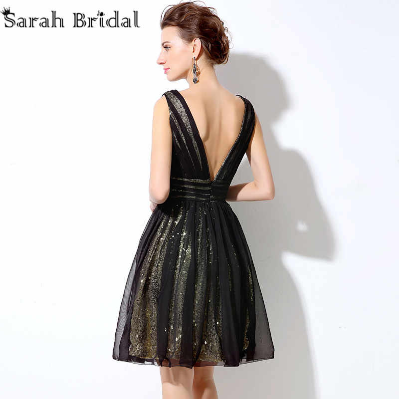 5c49408f8b3 ... Sexy Backless Sequined Short Prom Dresses Real Photo Ballkleider V-neck  Black A-line