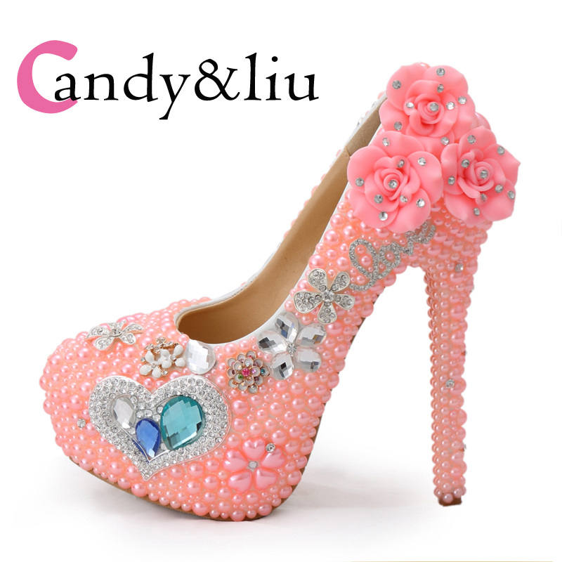 Pink pearl high heels princess crystal shoes wedding ceremony performance banquet studio wedding photo wedding bride shoes цена