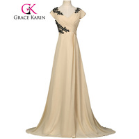 Grace Karin Mother Of The Bride Dresses For Wedding Chiffon Cap Sleeve Floor Length Evening Party