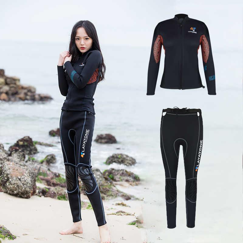 Layaton Wetsuit seti kadınlar 3mm dalgıç kıyafeti Wetsuit ceket uzun kollu sörf kıyafeti pantolon dalış yüzme Kayaking dalış elbisesi