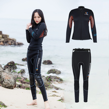 Layatone Wetsuit Set Women 3mm Diving Suit Wetsuit Jacket Long-sleeved Surfing Suit Pants Snorkeling Swimming Kayaking Wet suit