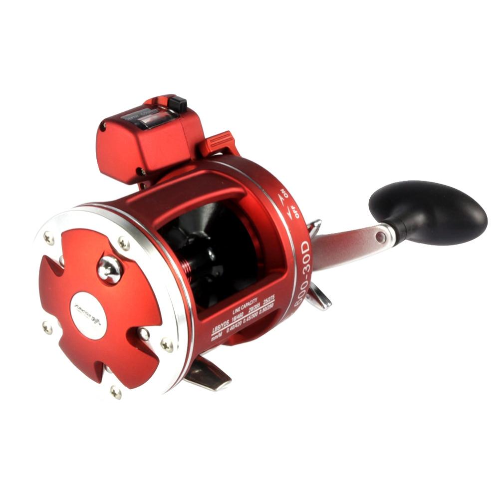 Full metal rojo mano derecha bait casting Pesca Carrete con contador 12bb cuerpo de alta resistencia fundido rueda de tambor