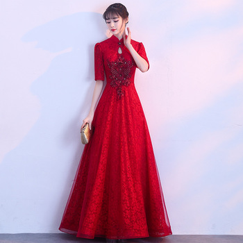 Summer Chinese Traditional Dress Qipao Long Cheongsam Design Short Sleeves China Evening Gowns Bridesmaid Dresses Wine