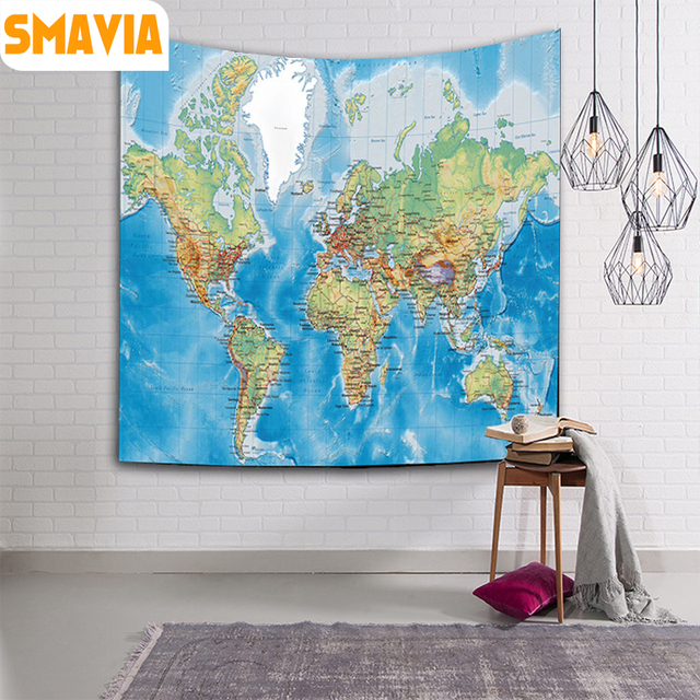 Smavia world map design wall hanging tapestry 100polyester mandala smavia world map design wall hanging tapestry 100polyester mandala tapestry table cloth yoga mat gumiabroncs Gallery