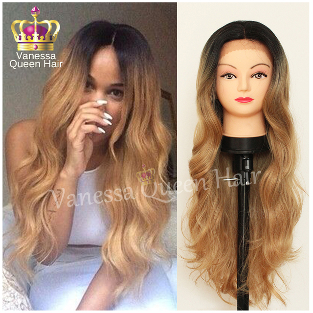 2016 New Arrivals Honey Blonde Ombre Lace Front Wig Body Wave Heat  Resistant Synthetic Wig For Black Women Wholesale Fashion Wig 7f02142e4230