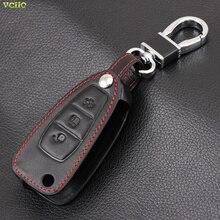 Автомобильный брелок, черный кожаный чехол, держатель для ключа для Ford Focus 3 4 MK3 ST RS new fiesta kuga Escape Ecosport, 3 кнопки, складной ключ