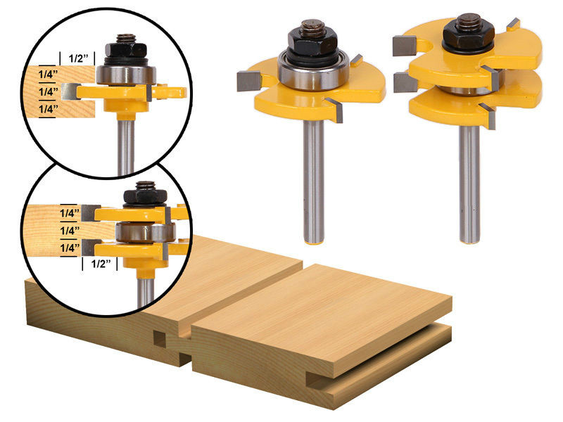 New 2pcs Tongue and Groove Router Bit Set-1/4 Shank router table woodworking milling cutter/woodworking router bits/wood cutter 2pcs tongue and groove router bit 1 4 shank milling cutter set woodworking 3 4 stock wood tools drill set