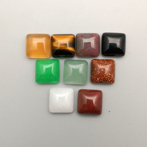 Image 3 - fashion 50Pcs/lot Square single arc natural stone square mixed charm 10x10mm cabochon beads for jewelry fashion Ring accessories