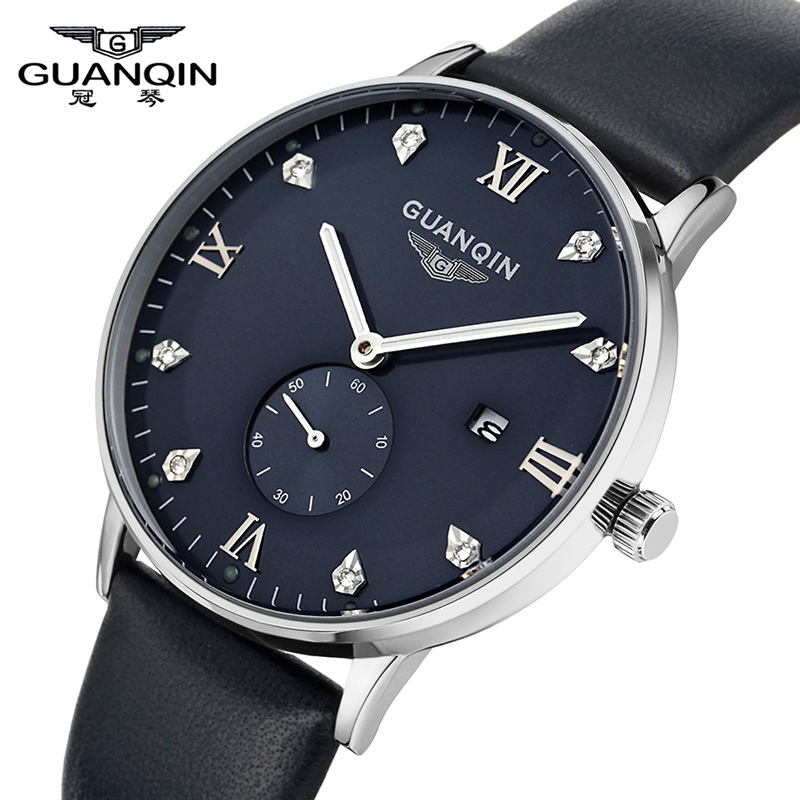 ФОТО Fashion Watches Men Luxury Brand GUANQIN Top Casual Quartz Watch relogio masculino Leather Waterproof Sport Wristwatch Clock