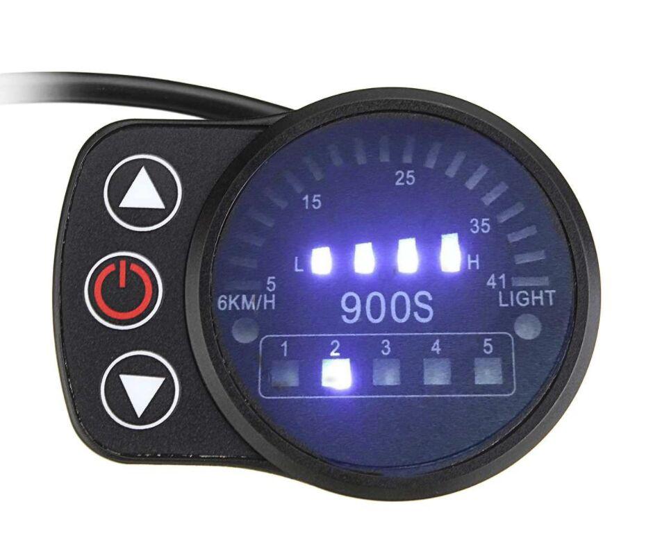 Купить с кэшбэком Ebike 24V/36V/48V KT LED900S LED Display Intelligent Meter Black Control Panel With 5 Pins Plug For KT Controller