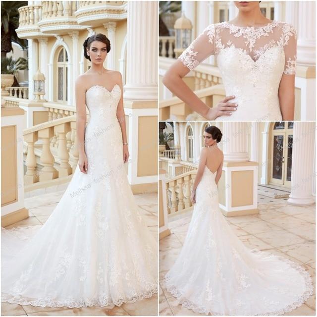 Y Wedding Dress With Jacket Sweetheart Neckline Mermaid Shape Bridal Sleeves 2016 Free