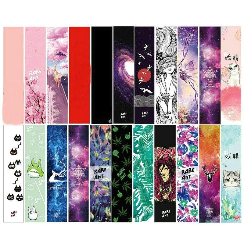 122cm Dancing Longboard Griptapes Long Board Grip Tape Skateboard Griptapes Anti-Slid Sandpaper Colorful Graphic Deck Protective