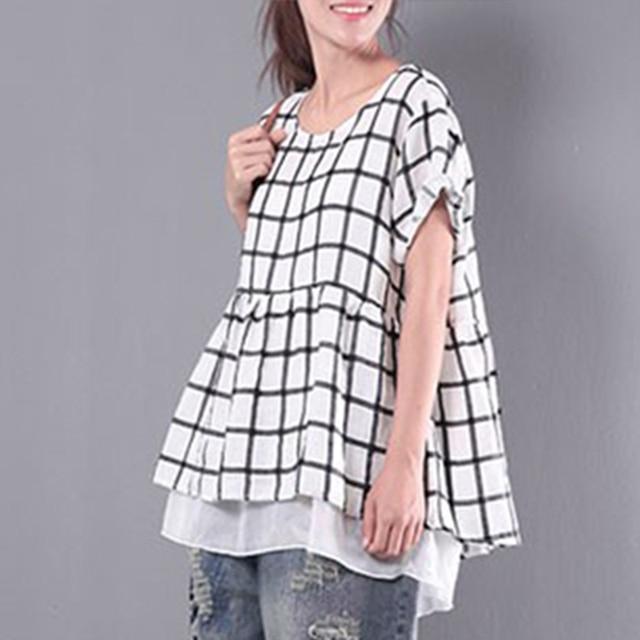 160ae4b4409a59 ZANZEA 2018 Summer Short Sleeve Women Blouse Casual Loose Plaid Shirt Top  Large Hem Blusa Feminina White Chemise Femme Plus Size