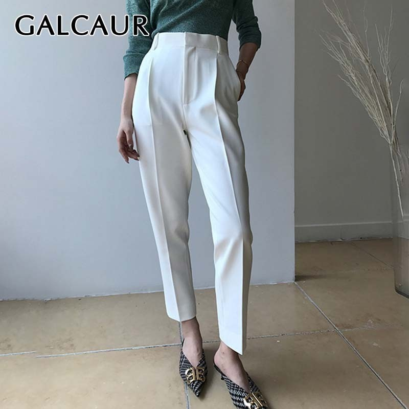 GALCAUR Casual Solid Trousers For Women High Waist Large Size Harem Pants Female Fashion Clothes Korean Summer 2019 News