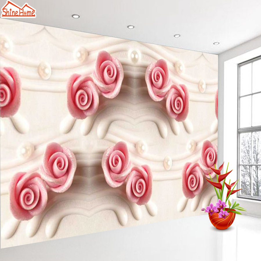 ShineHome-Large Custom Rose Floral 3d Modern Living Room Photo wallpapers Nature Wall Murals Wahable Wallpaper Desktop for Kids shinehome modern custom elephant skyline photo wallpaper 3d stereoscopic decorative wall paper murals boys children kids room