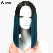 Noble Straight Synthetic Hair Lace Front och T Part Wig 14 tums perukar Blue Ombre Wig Färger Val Cosplay Wig Gratis frakt