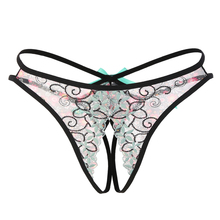 Sexy Women Underwear Sex Panties Seamless Lace Open Crotch Thong For Embroidery Bow Transparent Colorful Tangas