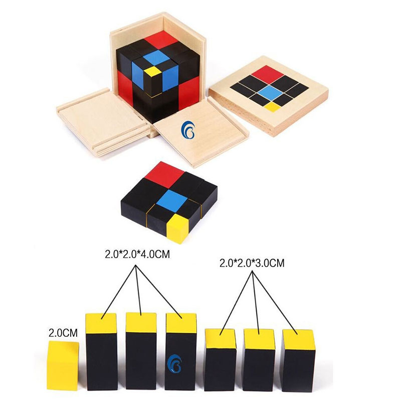ФОТО Professional Montessori Trinomial Cube Free Shipping Montessori Materials Educational Wooden Toy TGMN54H