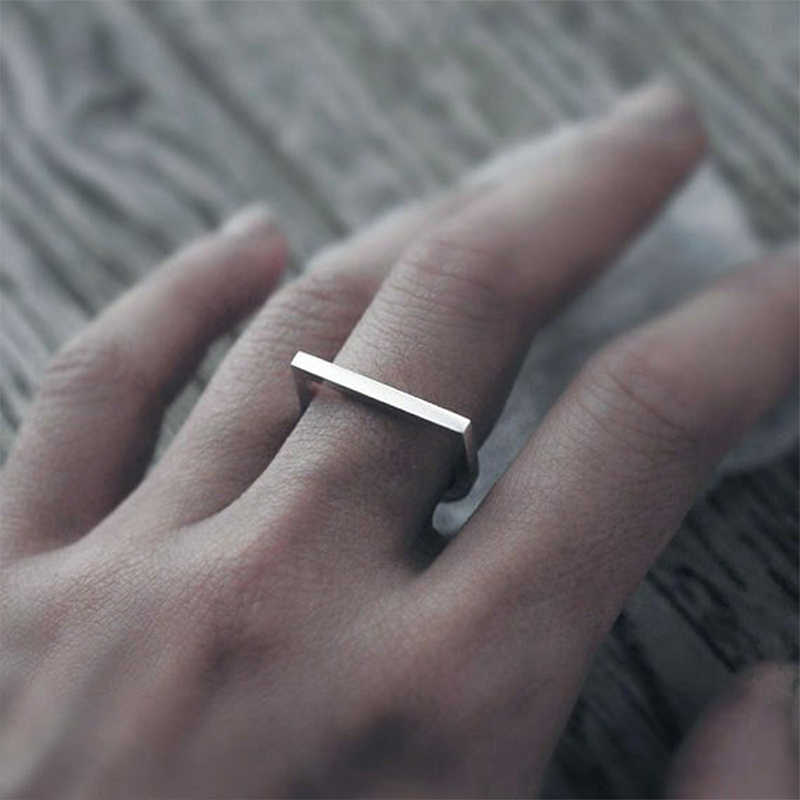 Hip Hop ยอดนิยมแหวนสแตนเลสสำหรับสุภาพสตรีเรขาคณิต Punk ส่วนบุคคลแหวน minimalist ผู้หญิงเครื่องประดับ
