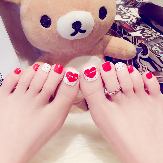 HUAMIANLI Nail art Japan & South Korea fashion style red love toe ...