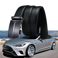 1set For Tesla Model S Model X 3 P100D P85D 3D Meatl Emblem Accessories Logo Genuine Leather Car Styling Cool Business Belt