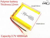 BIHUADE Free Shipping 3 7V 4000mAh 125054 Lithium Polymer Battery MP3 MP4 Navigation Instruments Small Toys