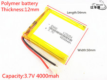 BIHUADE Free Shipping 3 7V 4000mAh 125054 lithium polymer battery MP3 MP4 navigation instruments small toys