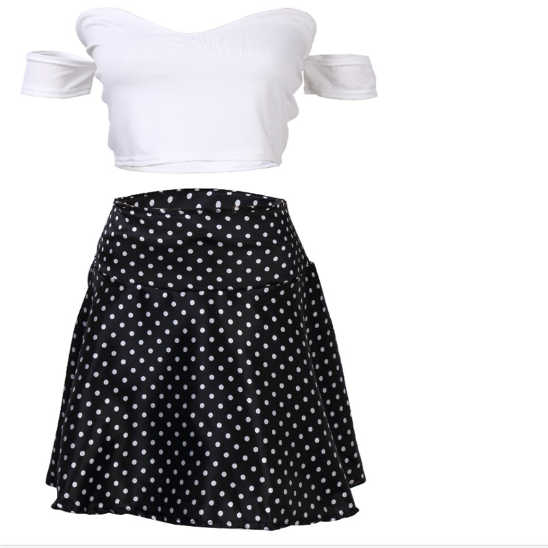 2017 Women Sexy Sets 2Pcs Solid Short Sleeve Tops +Dot Short Skirts UK Seller Women Short Sleeve Bodycon Casual Party