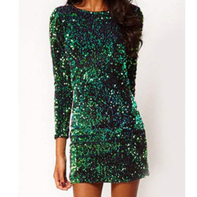 56ca28a7bb0 Online Shop Sequin Dress Women 2017 Green Special Occasion Bodycon Dress  Party paillettes Dresses Long Sleeve Mini Dresses | Aliexpress Mobile