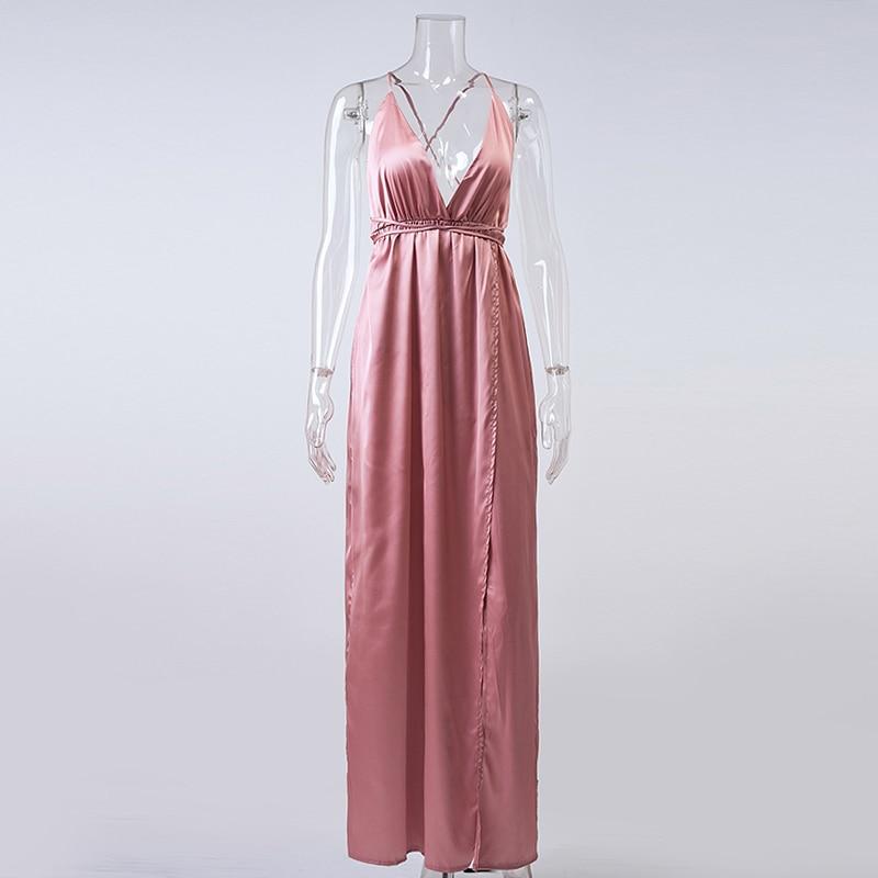 HTB1CRdfNVXXXXXbXpXXq6xXFXXXt - Off Shoulder Sexy Deep V Neck Beach Style Women Dress Strap Backless Maxi Long Evening Party Dresses JKP028