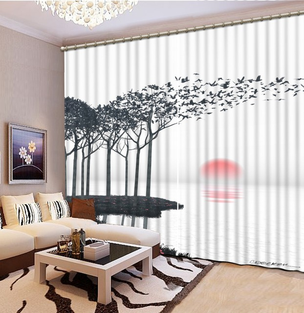 custom 3d cortinas Sea sunset 3d curtains for children bedroom 3d ...
