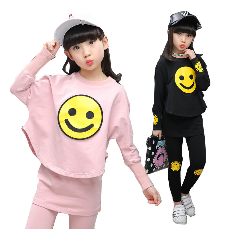 Children Girls clothing set 2017 autumn teenage girls sport suit cartoon Smiley Faces chool kids tracksuit 4~12T girls clothes