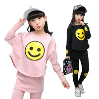 Children Girls Clothing Set 2017 Spring Teenage Girls Sport Suit Cartoon Smiley Faces Chool Kids Tracksuit